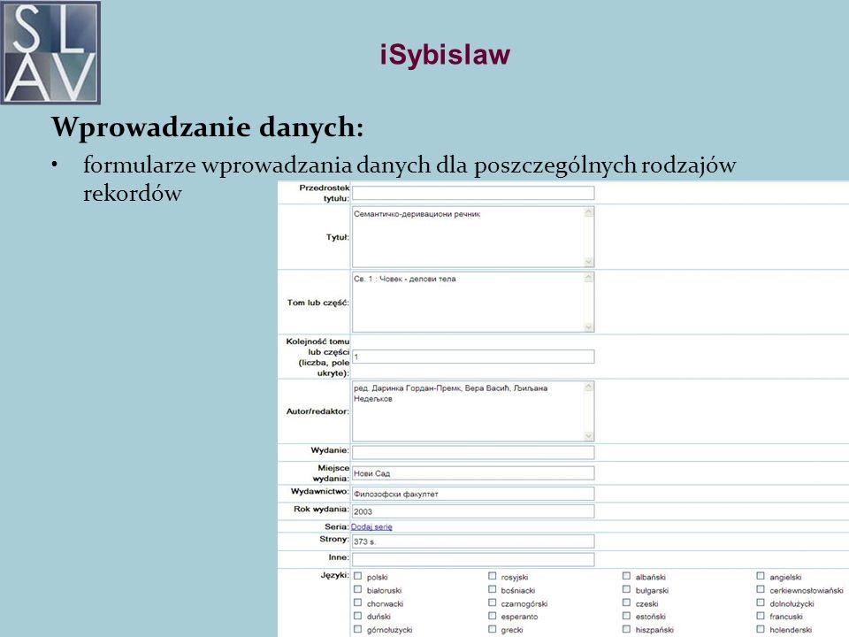 iSybislaw Wprowadzanie danych: