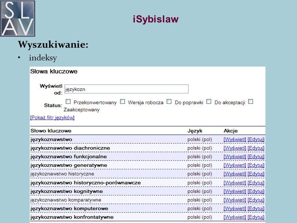 iSybislaw Wyszukiwanie: indeksy