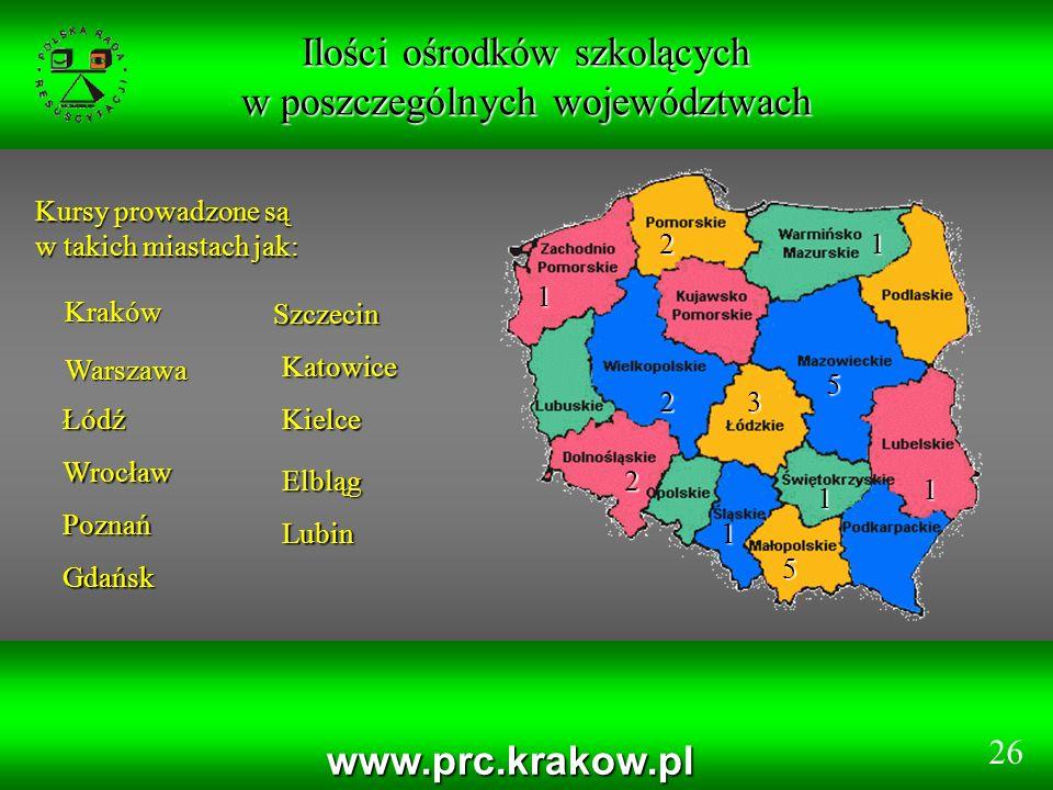 Ilości ośrodków szkolących w poszczególnych województwach