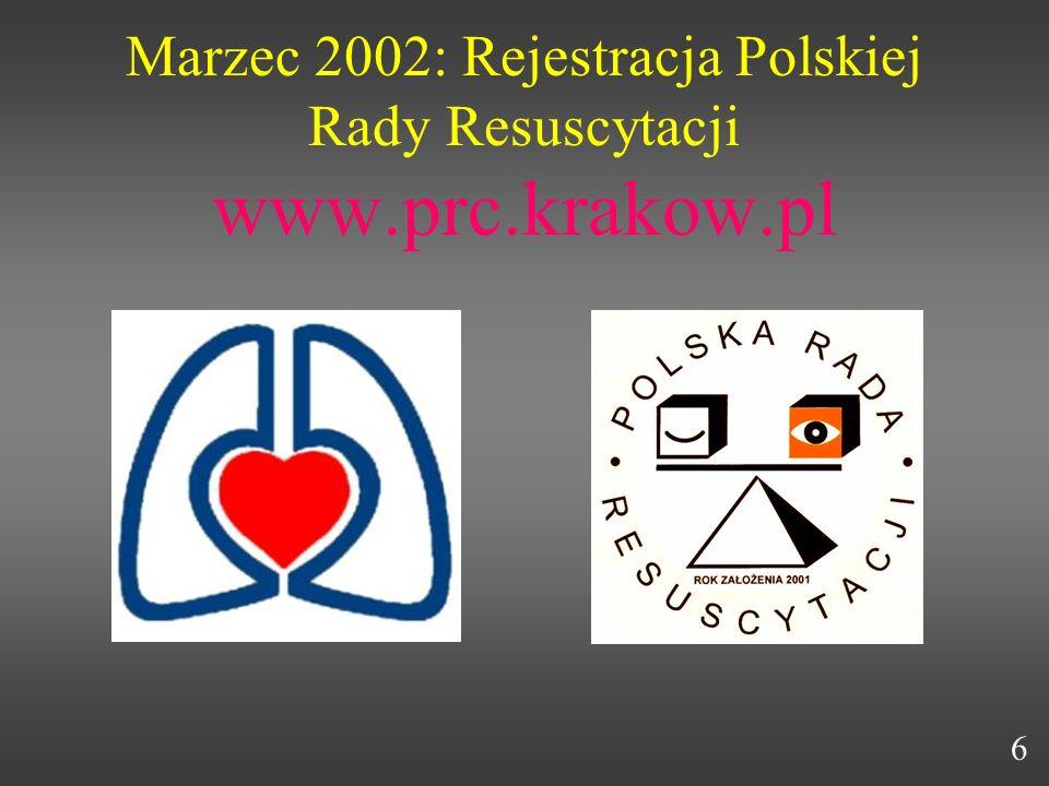 Marzec 2002: Rejestracja Polskiej Rady Resuscytacji www.prc.krakow.pl