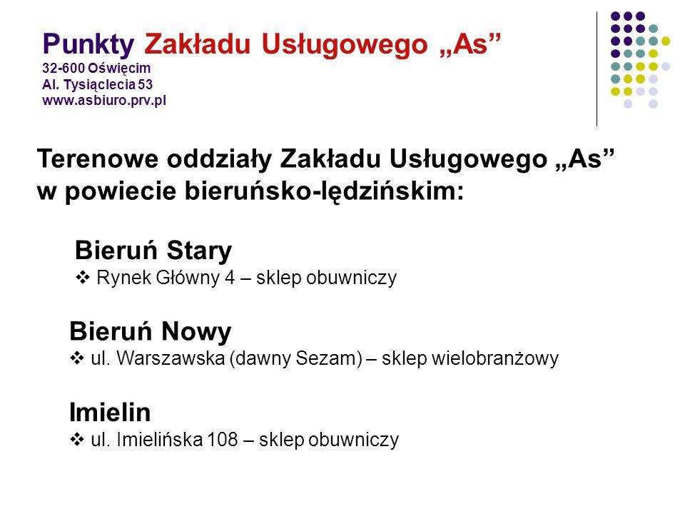 """Punkty Zakładu Usługowego """"As 32-600 Oświęcim Al. Tysiąclecia 53 www"""