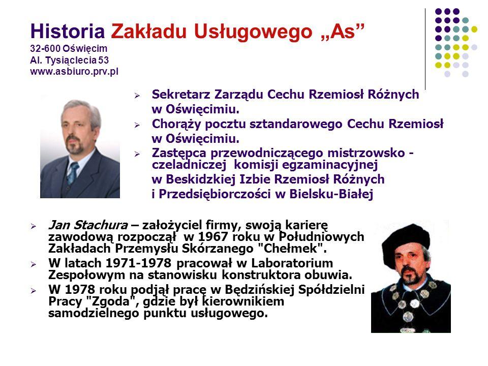 """Historia Zakładu Usługowego """"As 32-600 Oświęcim Al. Tysiąclecia 53 www.asbiuro.prv.pl"""