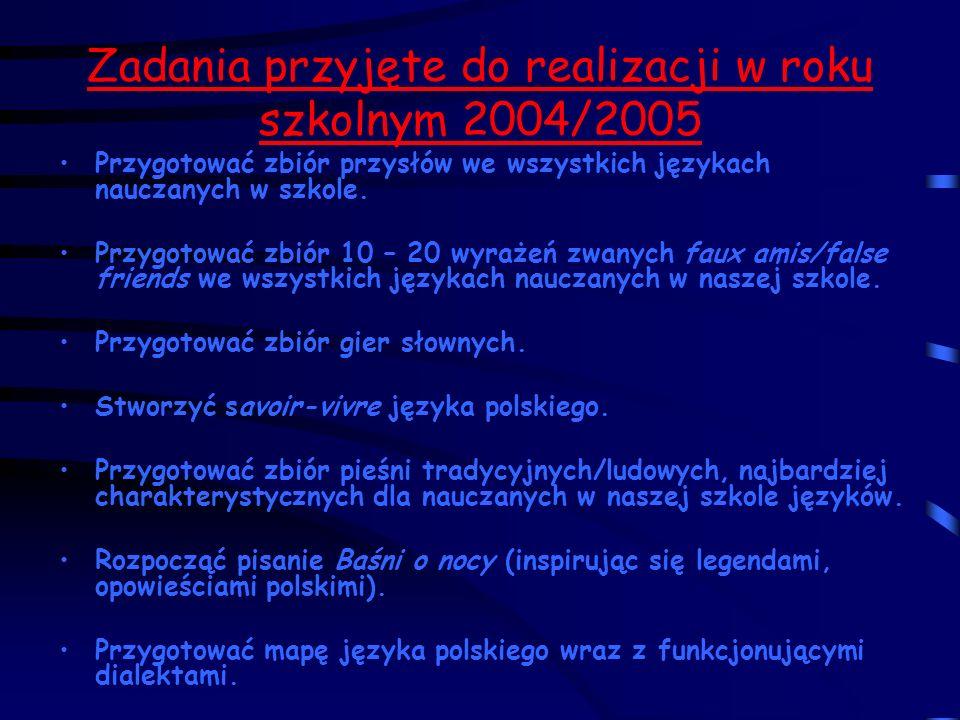 Zadania przyjęte do realizacji w roku szkolnym 2004/2005