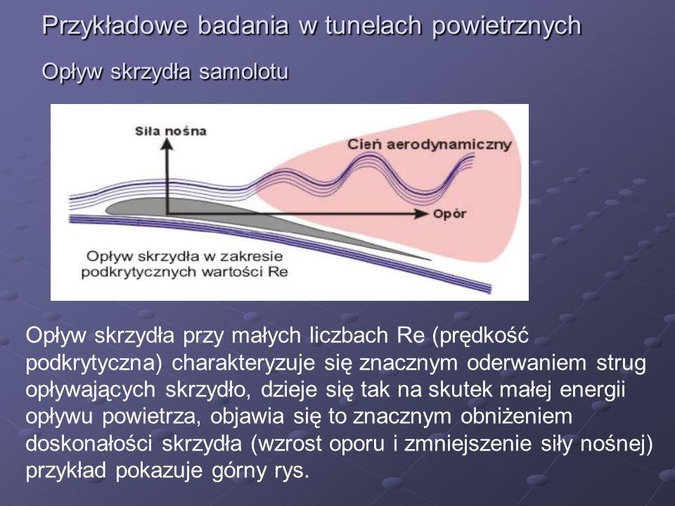 Przykładowe badania w tunelach powietrznych Opływ skrzydła samolotu