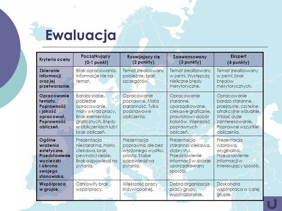 Ewaluacja Kryteria oceny Początkujący (0-1 punkt)