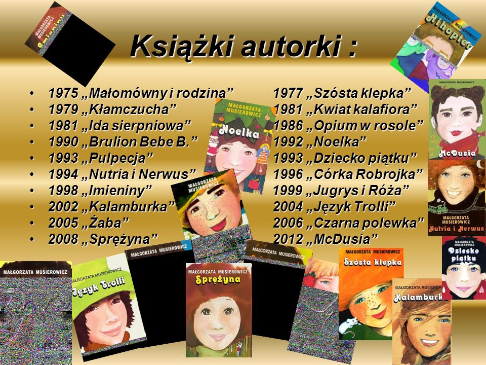 """Książki autorki : 1975 """"Małomówny i rodzina 1977 """"Szósta klepka"""