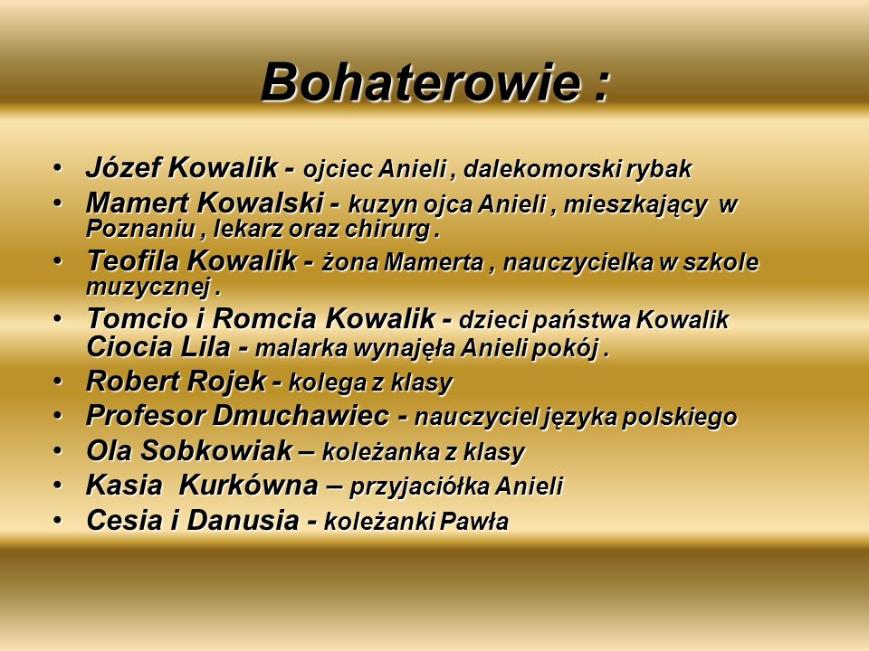 Bohaterowie : Józef Kowalik - ojciec Anieli , dalekomorski rybak