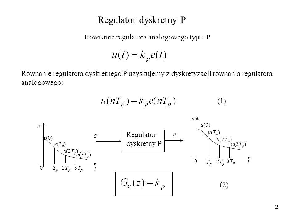 Równanie regulatora analogowego typu P