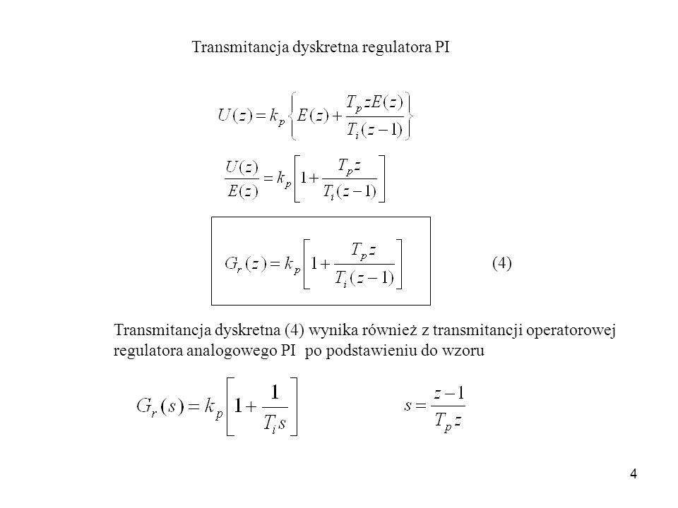Transmitancja dyskretna regulatora PI