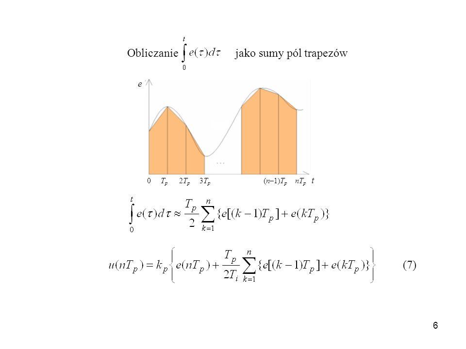 Obliczanie jako sumy pól trapezów e 0 Tp 2Tp 3Tp (n–1)Tp nTp t (7)
