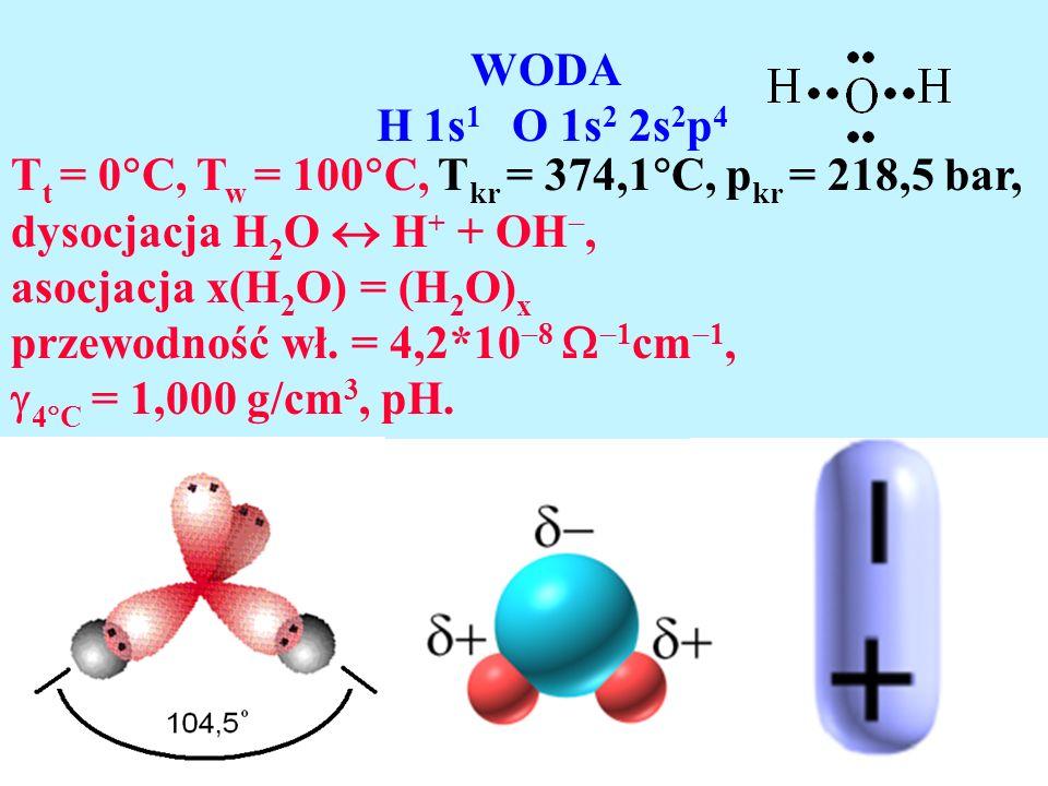 WODA H 1s1 O 1s2 2s2p4. Tt = 0C, Tw = 100C, Tkr = 374,1C, pkr = 218,5 bar, dysocjacja H2O  H+ + OH,