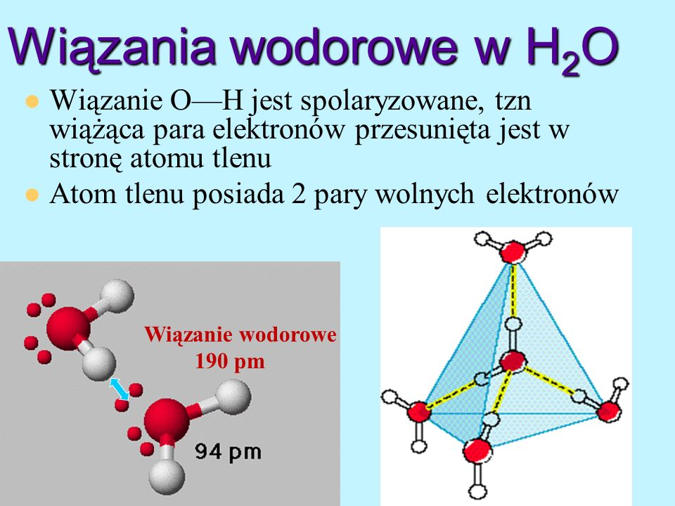 Wiązania wodorowe w H2O Wiązanie O—H jest spolaryzowane, tzn wiążąca para elektronów przesunięta jest w stronę atomu tlenu.