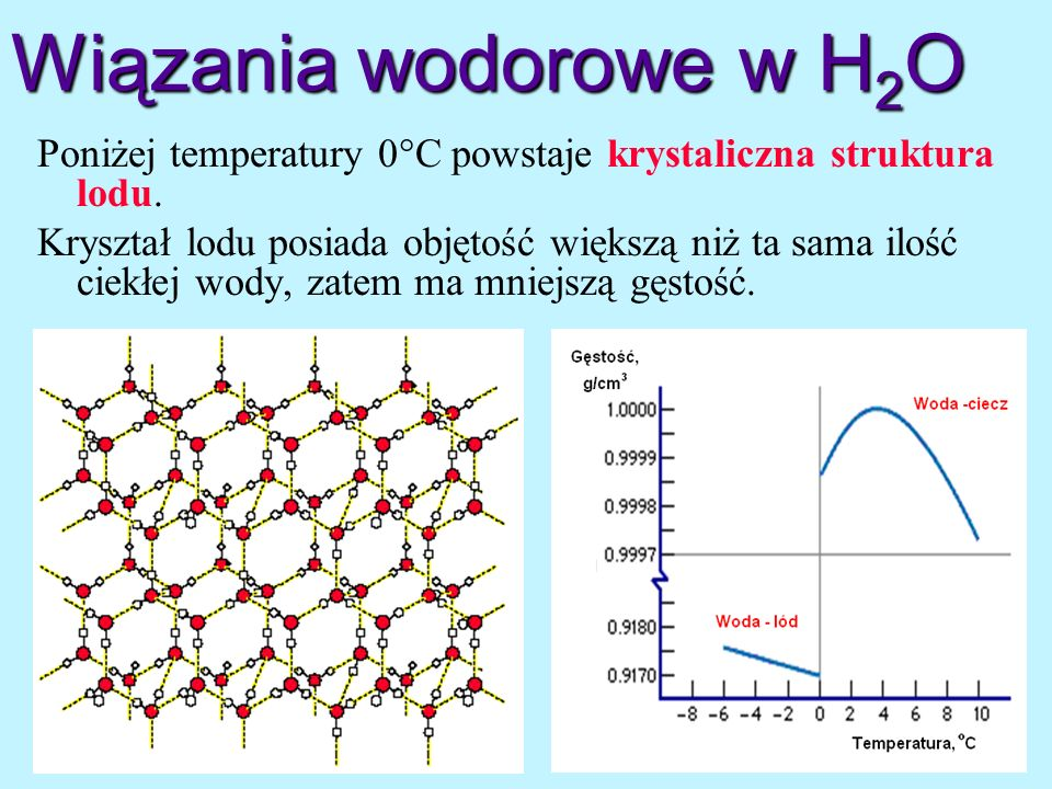 Wiązania wodorowe w H2O Poniżej temperatury 0C powstaje krystaliczna struktura lodu.