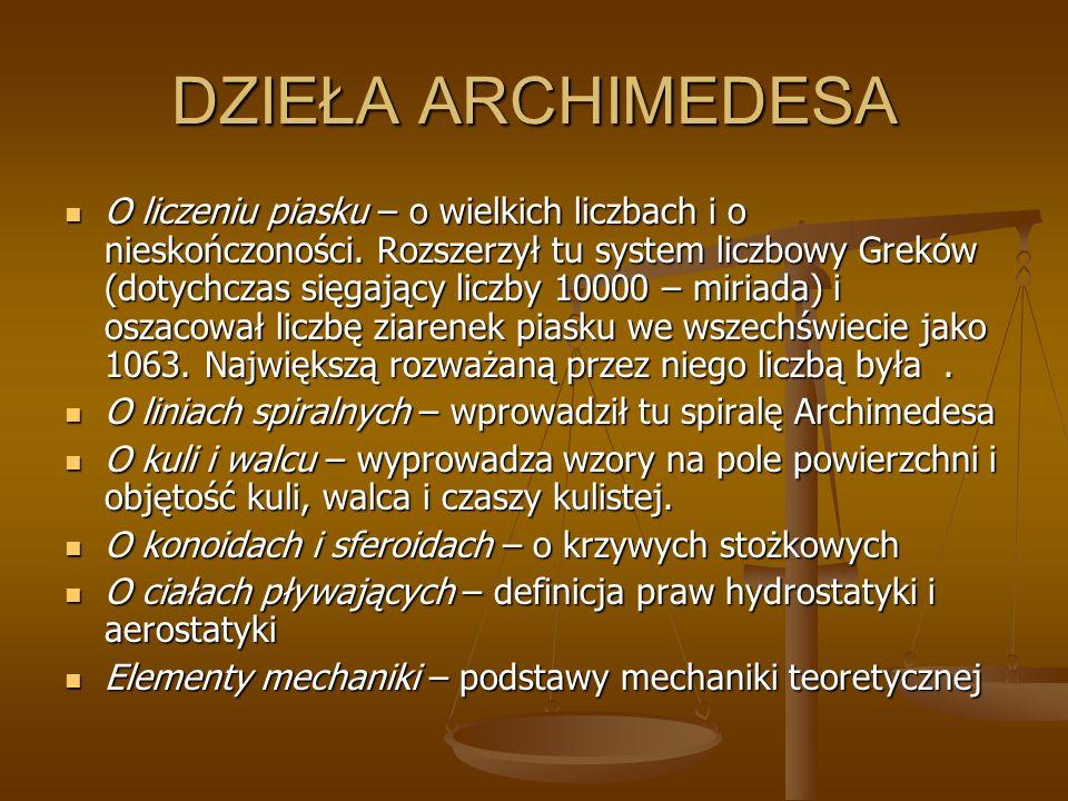 DZIEŁA ARCHIMEDESA