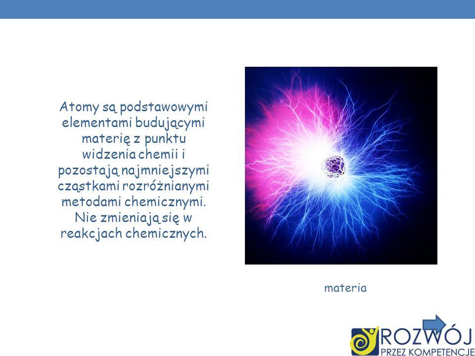 Atomy są podstawowymi elementami budującymi materię z punktu widzenia chemii i pozostają najmniejszymi cząstkami rozróżnianymi metodami chemicznymi. Nie zmieniają się w reakcjach chemicznych.