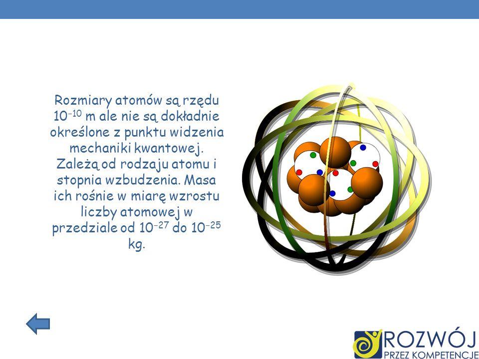 Rozmiary atomów są rzędu 10−10 m ale nie są dokładnie określone z punktu widzenia mechaniki kwantowej.