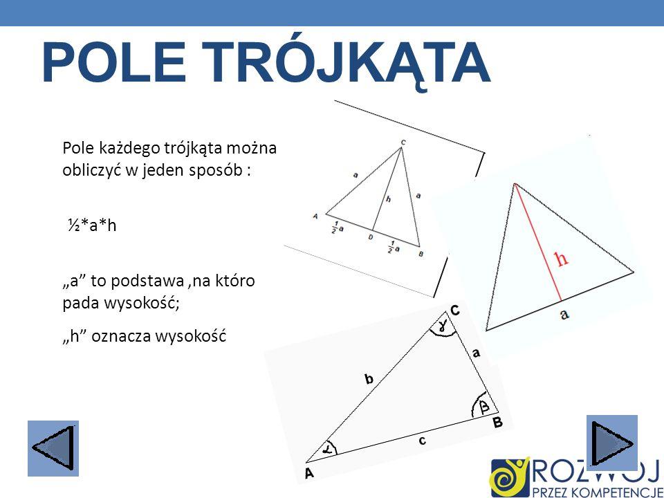 Pole trójkąta Pole każdego trójkąta można obliczyć w jeden sposób :