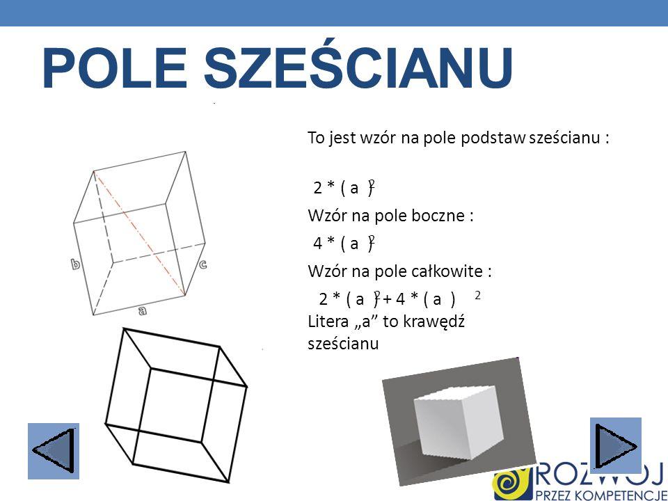 Pole sześcianu To jest wzór na pole podstaw sześcianu : 2 * ( a )