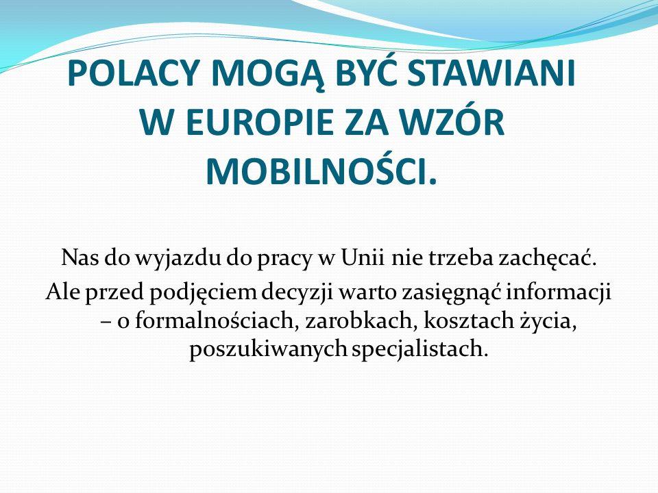 POLACY MOGĄ BYĆ STAWIANI W EUROPIE ZA WZÓR MOBILNOŚCI.