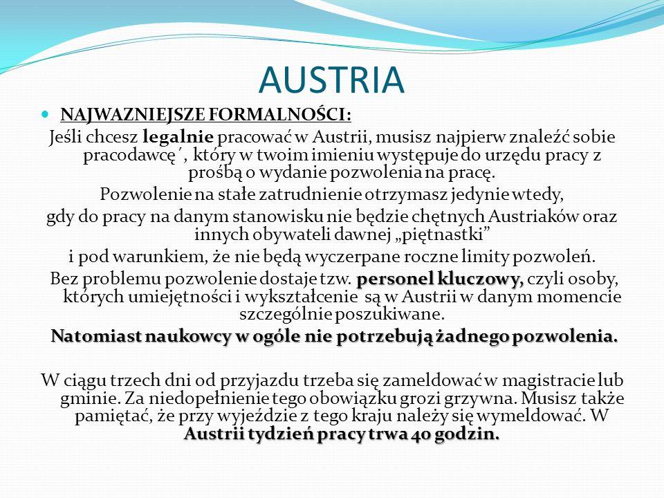 AUSTRIA NAJWAZNIEJSZE FORMALNOŚCI: