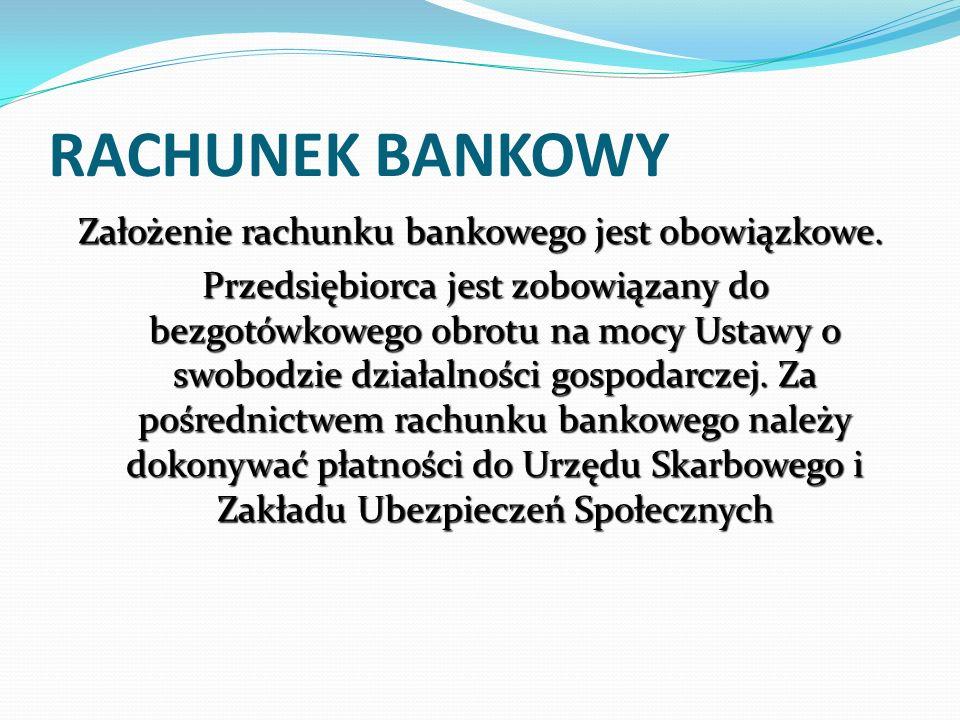 Założenie rachunku bankowego jest obowiązkowe.