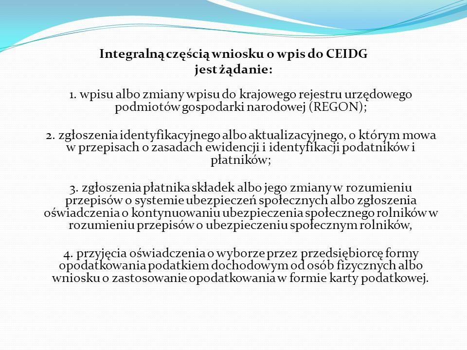 Integralną częścią wniosku o wpis do CEIDG jest żądanie: 1