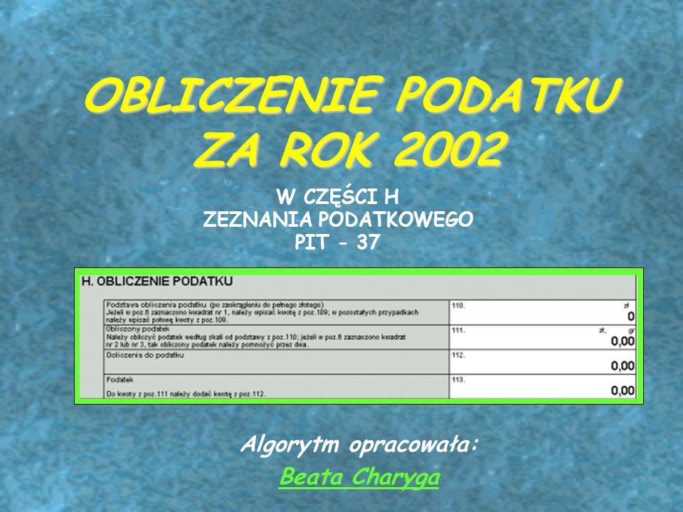 OBLICZENIE PODATKU ZA ROK 2002