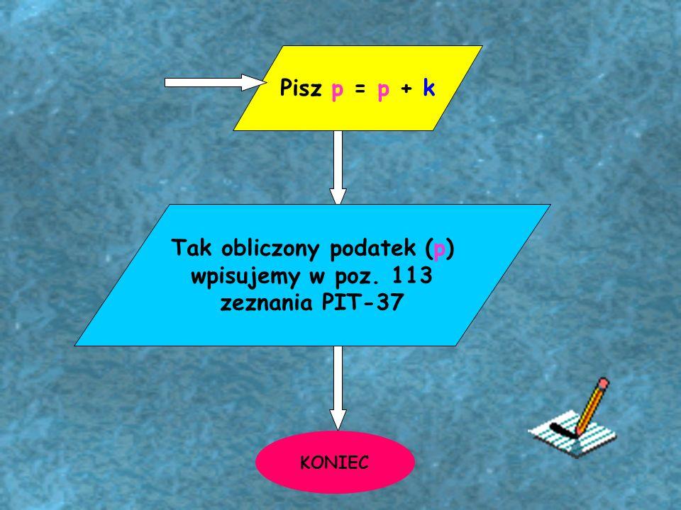 Tak obliczony podatek (p) wpisujemy w poz. 113 zeznania PIT-37