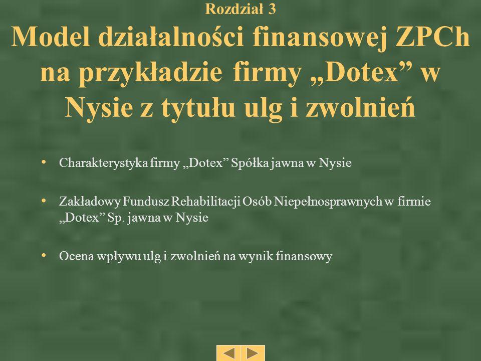 """Rozdział 3 Model działalności finansowej ZPCh na przykładzie firmy """"Dotex w Nysie z tytułu ulg i zwolnień"""