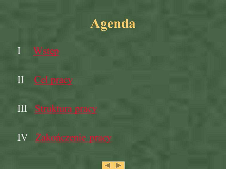 Agenda I Wstęp II Cel pracy III Struktura pracy IV Zakończenie pracy