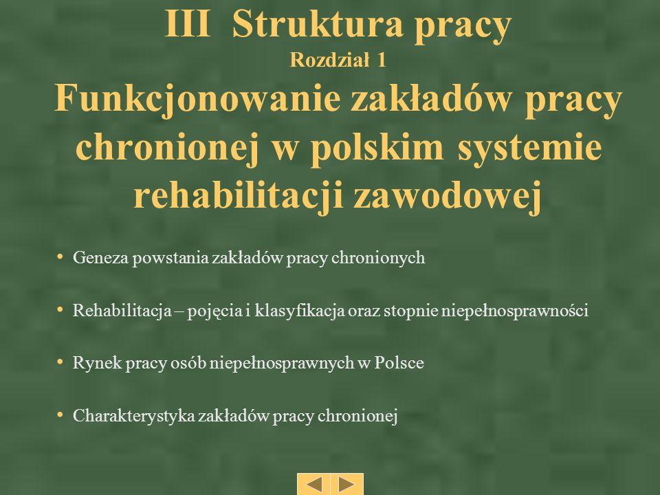III Struktura pracy Rozdział 1 Funkcjonowanie zakładów pracy chronionej w polskim systemie rehabilitacji zawodowej