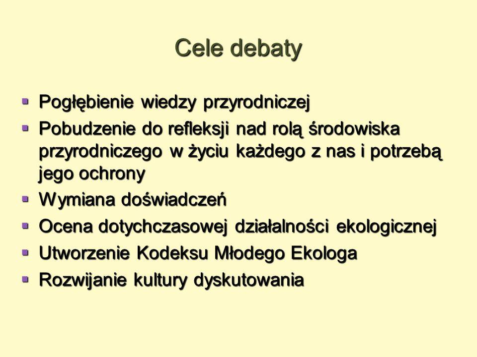 Cele debaty Pogłębienie wiedzy przyrodniczej