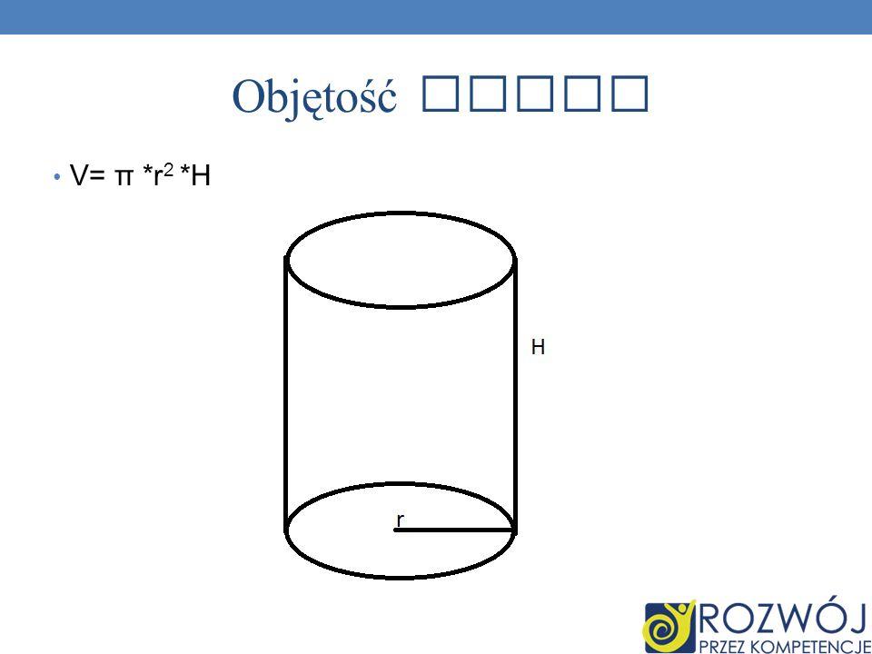 Objętość walca V= π *r2 *H