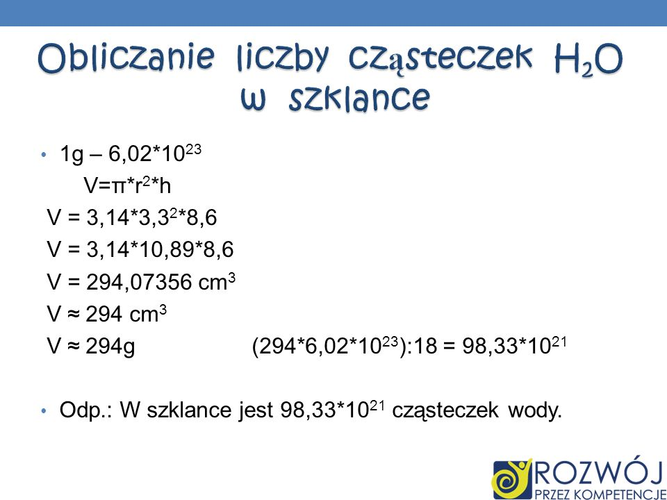 Obliczanie liczby cząsteczek H2O w szklance