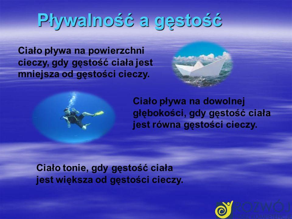 Pływalność a gęstość Ciało pływa na powierzchni cieczy, gdy gęstość ciała jest mniejsza od gęstości cieczy.