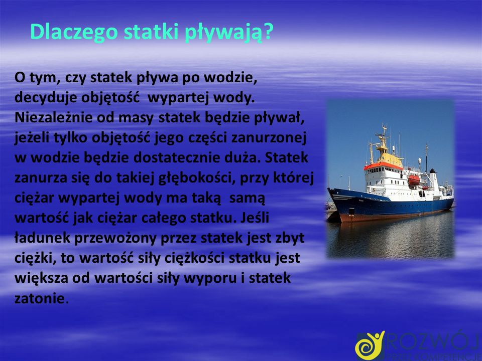 Dlaczego statki pływają