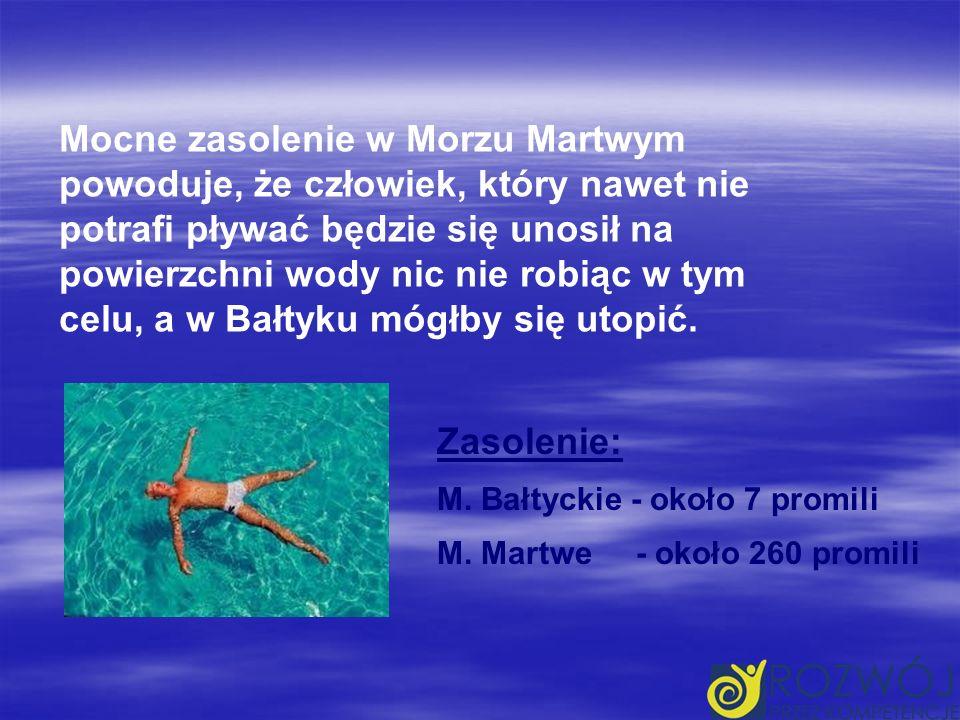 Mocne zasolenie w Morzu Martwym powoduje, że człowiek, który nawet nie potrafi pływać będzie się unosił na powierzchni wody nic nie robiąc w tym celu, a w Bałtyku mógłby się utopić.