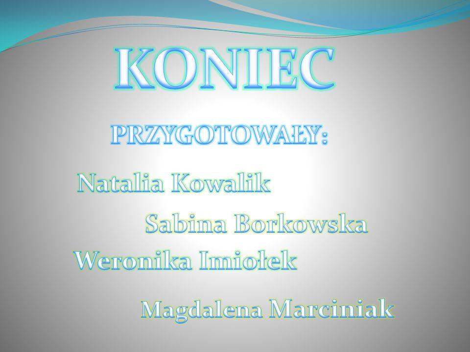 KONIEC PRZYGOTOWAŁY: Natalia Kowalik Sabina Borkowska Weronika Imiołek