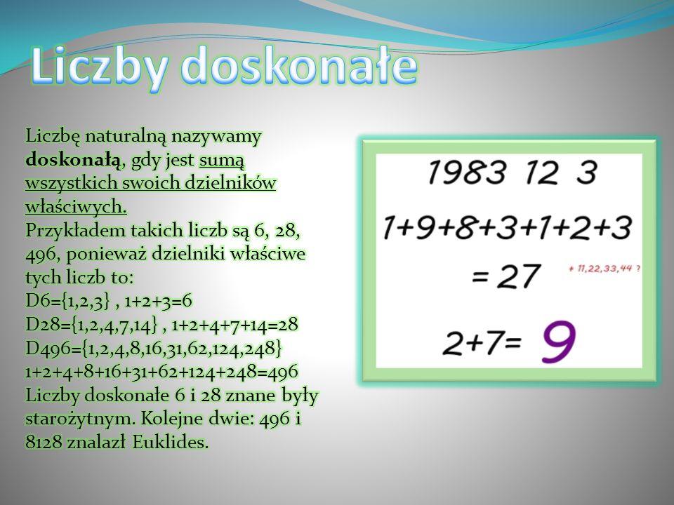 Liczby doskonałe Liczbę naturalną nazywamy doskonałą, gdy jest sumą wszystkich swoich dzielników właściwych.