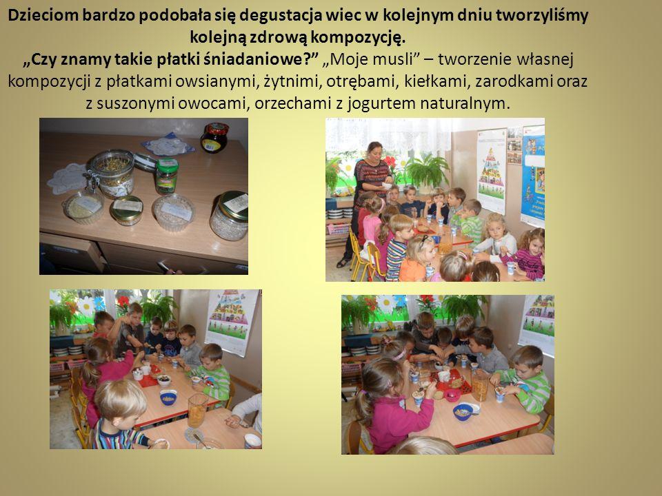 Dzieciom bardzo podobała się degustacja wiec w kolejnym dniu tworzyliśmy kolejną zdrową kompozycję.