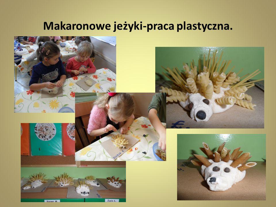 Makaronowe jeżyki-praca plastyczna.