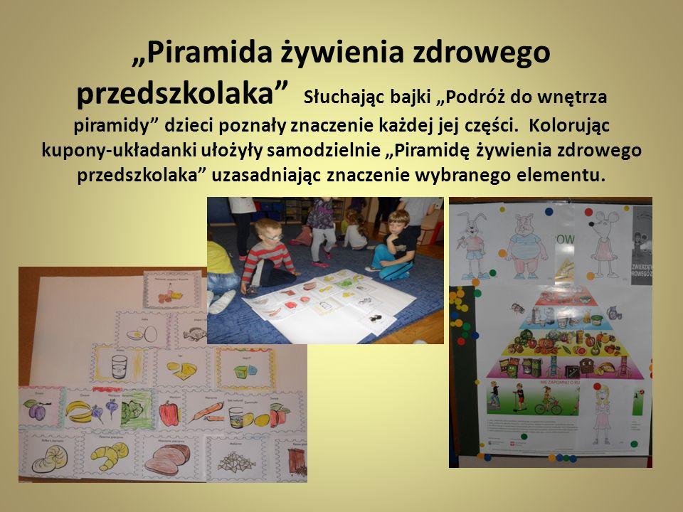 """""""Piramida żywienia zdrowego przedszkolaka Słuchając bajki """"Podróż do wnętrza piramidy dzieci poznały znaczenie każdej jej części."""