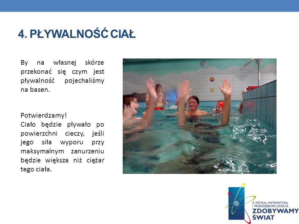 4. Pływalność ciał By na własnej skórze przekonać się czym jest pływalność pojechaliśmy na basen. Potwierdzamy!