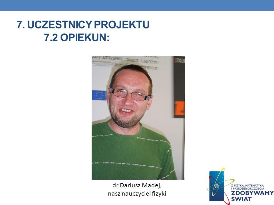7. Uczestnicy projektu 7.2 opiekun: