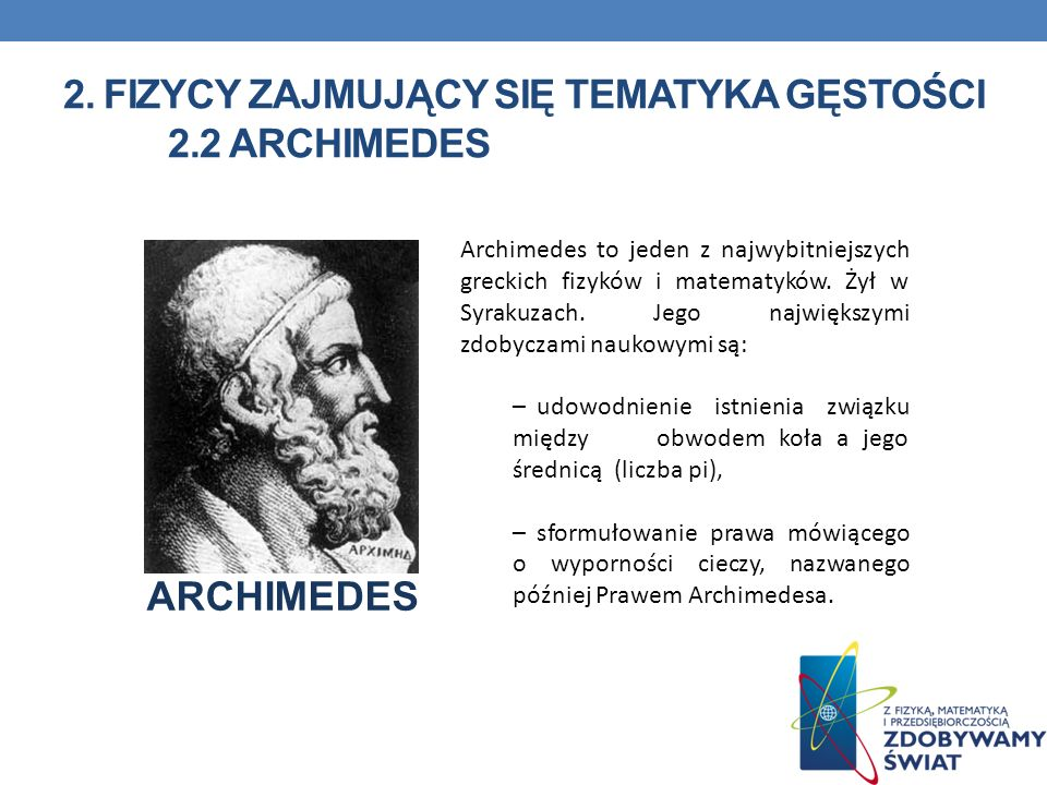 2. Fizycy zajmujący się tematyka gęstości 2.2 Archimedes