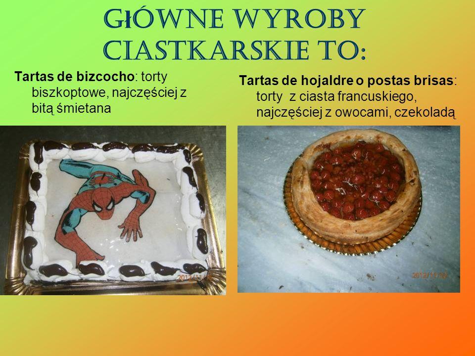 Główne wyroby ciastkarskie to: