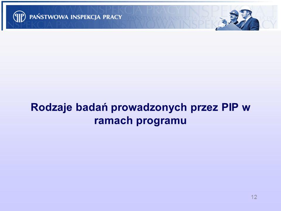 Rodzaje badań prowadzonych przez PIP w ramach programu