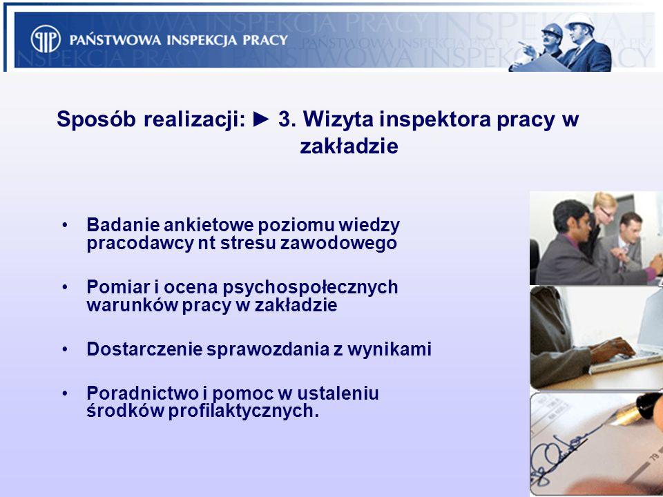 Sposób realizacji: ► 3. Wizyta inspektora pracy w zakładzie
