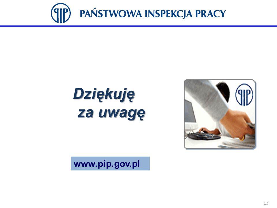 Dziękuję za uwagę www.pip.gov.pl