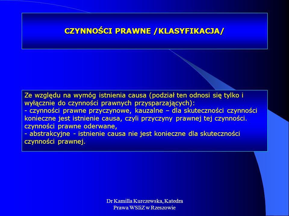CZYNNOŚCI PRAWNE /KLASYFIKACJA/